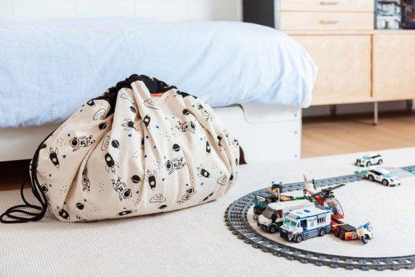 Στρώμα παιχνιδιού - τσάντα 2 σε 1 - Διάστημα φωσφορίζον